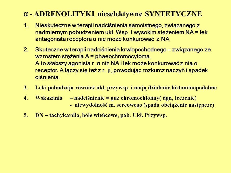  1 – adrenolityki selektywne NA - 11  2 Receptory narządowe Blokada selektywna rozkurcz naczyń =spadek RR rozkurcz m.