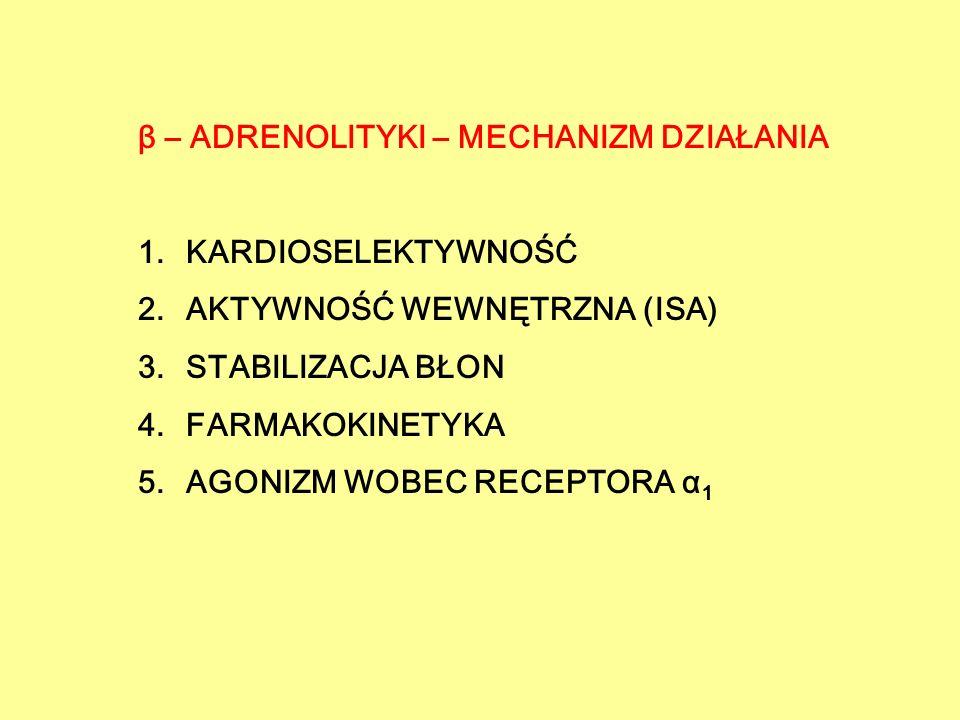 β – ADRENOLITYKI - KARDIOSELEKTYWNOŚĆ GENERACJE 1.I – leki niewybiórcze działające na obydwa receptory β a) ISA –PROPRANOLOL, TIMOLOL, SOTALOL, NADOLOL b) ISA + PINDOLOL, BIOPINDOLOL, PENBUTOLOL, KARTEOLOL, ALPRENOLOL, OKSPRENOLOL 2.II – leki kardiowybiórcze działające tylko na receptor β 1 a) ISA -ATENOLOL, METOPROLOL, BETAKSOLOL, BISOPROLOL B) ISA +ACEBUTOLOL, PRAKTOLOL, CELIPROLOL, ESMOLOL 3.III – leki z dodatkowym działaniem rozszerzającym naczynia krwionośne - KARWEDILOLblokada β 1 i β 2 blokada receptora α 1 - LABETALOLblokada β 1 i β 2, słaby agonista β 2, blokada receptora α 1 - NEBIWOLOLblokada β 1,,, uwalnianie NO - CELIPROLOLblokada β 1, silny agonista β 2