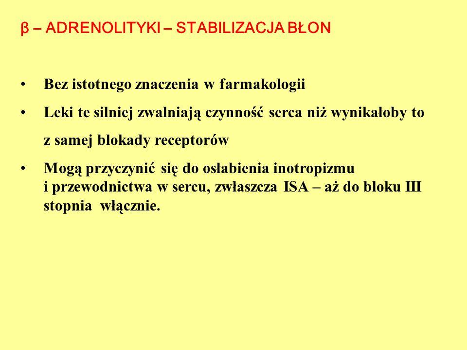β – ADRENOLITYKI - FARMAKOKINETYKA Leki rozpuszczalne w tłuszczach - dobrze wchłaniane z p.