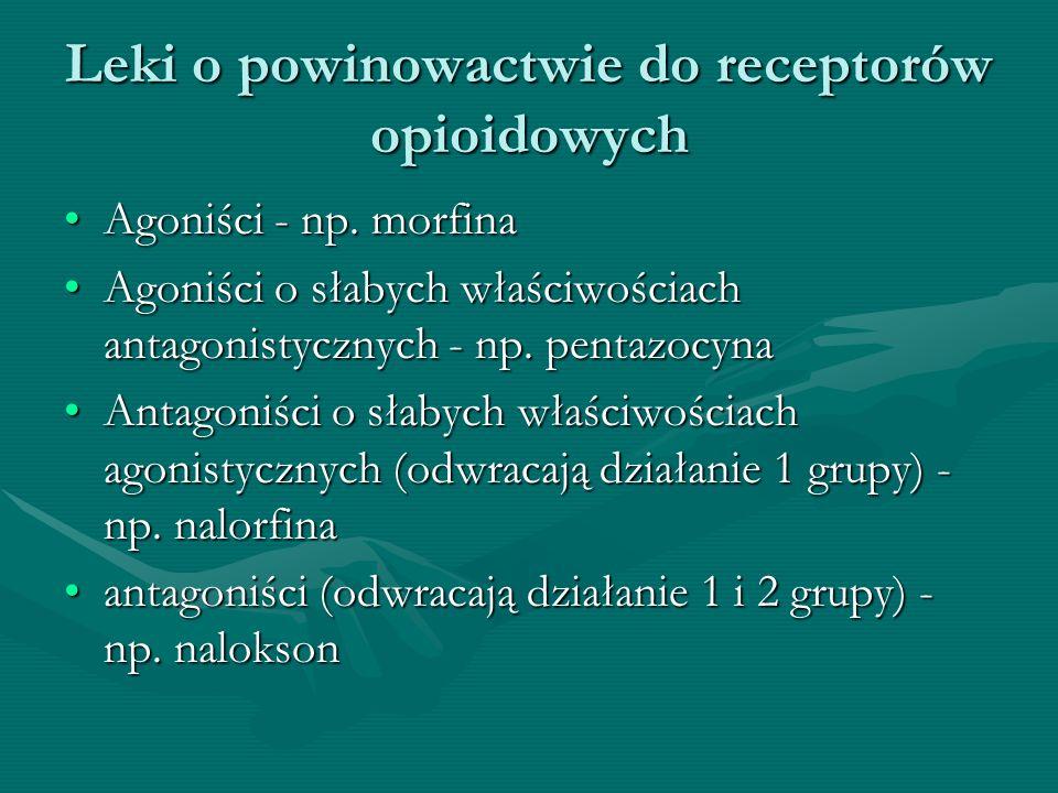 Leki o powinowactwie do receptorów opioidowych Agoniści - np. morfinaAgoniści - np. morfina Agoniści o słabych właściwościach antagonistycznych - np.