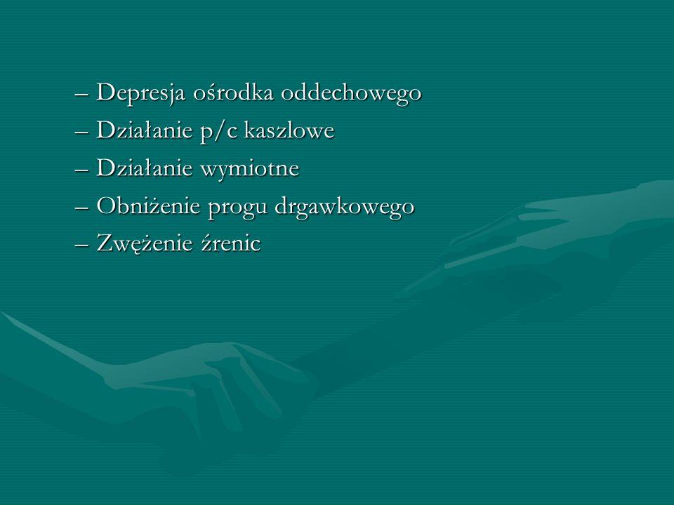 –Depresja ośrodka oddechowego –Działanie p/c kaszlowe –Działanie wymiotne –Obniżenie progu drgawkowego –Zwężenie źrenic