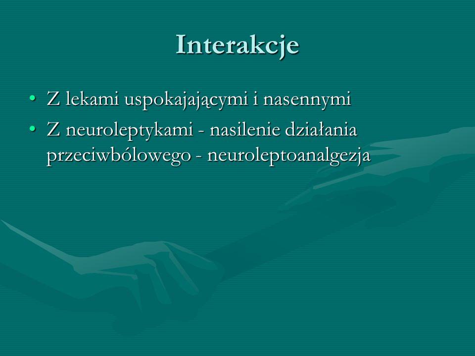 Interakcje Z lekami uspokajającymi i nasennymiZ lekami uspokajającymi i nasennymi Z neuroleptykami - nasilenie działania przeciwbólowego - neuroleptoa