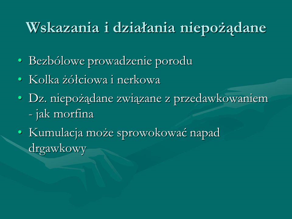 Wskazania i działania niepożądane Bezbólowe prowadzenie poroduBezbólowe prowadzenie porodu Kolka żółciowa i nerkowaKolka żółciowa i nerkowa Dz. niepoż