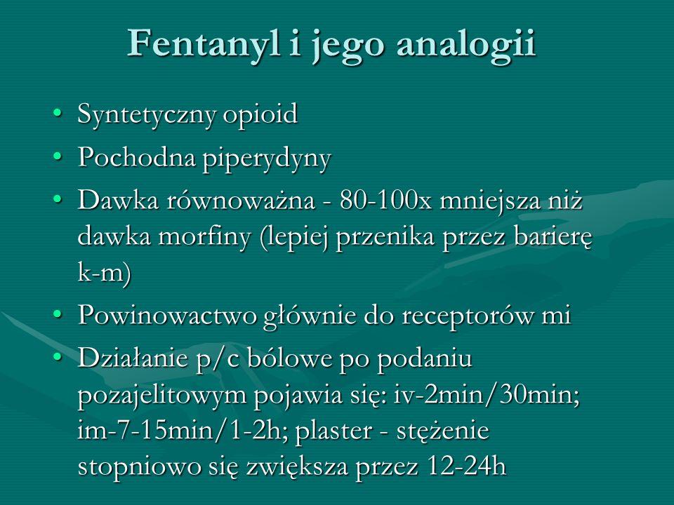 Fentanyl i jego analogii Syntetyczny opioidSyntetyczny opioid Pochodna piperydynyPochodna piperydyny Dawka równoważna - 80-100x mniejsza niż dawka mor