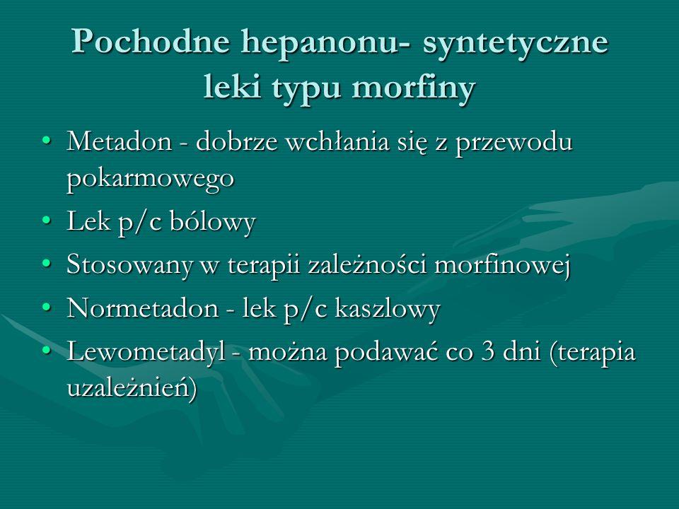 Pochodne hepanonu- syntetyczne leki typu morfiny Metadon - dobrze wchłania się z przewodu pokarmowegoMetadon - dobrze wchłania się z przewodu pokarmow