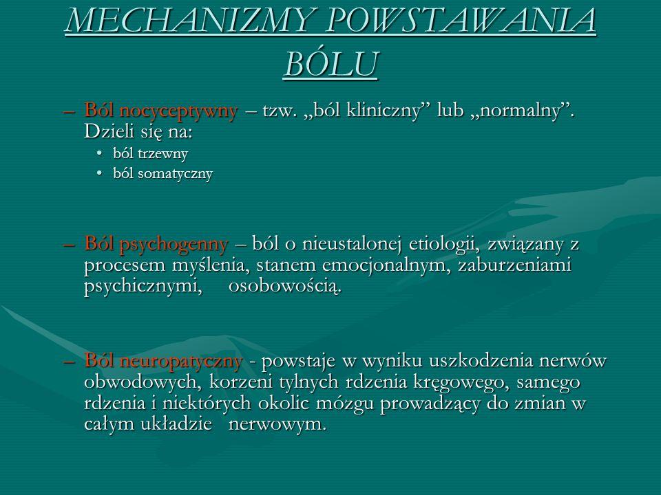 """MECHANIZMY POWSTAWANIA BÓLU –Ból nocyceptywny – tzw. """"ból kliniczny"""" lub """"normalny"""". Dzieli się na: ból trzewnyból trzewny ból somatycznyból somatyczn"""