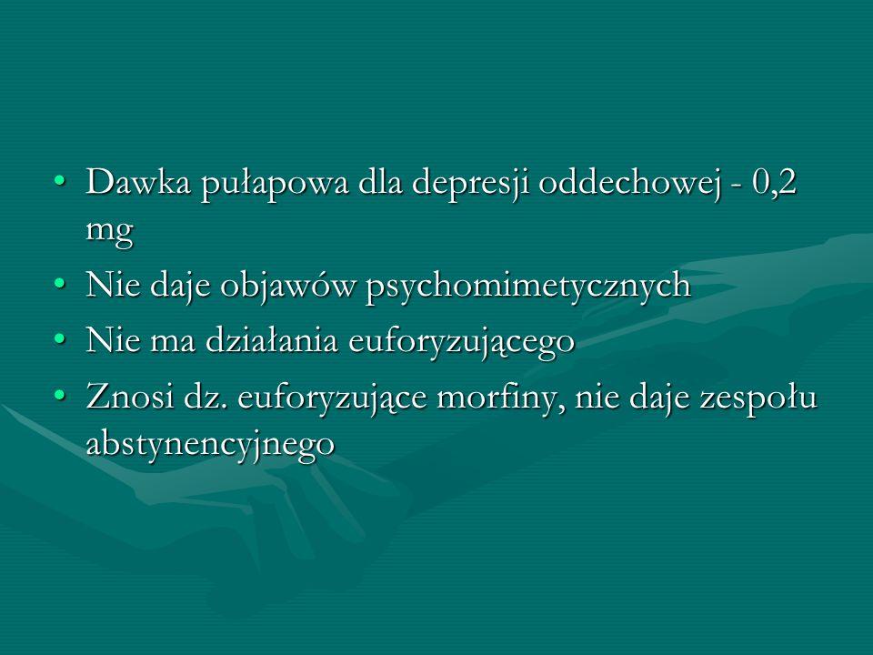 Dawka pułapowa dla depresji oddechowej - 0,2 mgDawka pułapowa dla depresji oddechowej - 0,2 mg Nie daje objawów psychomimetycznychNie daje objawów psy