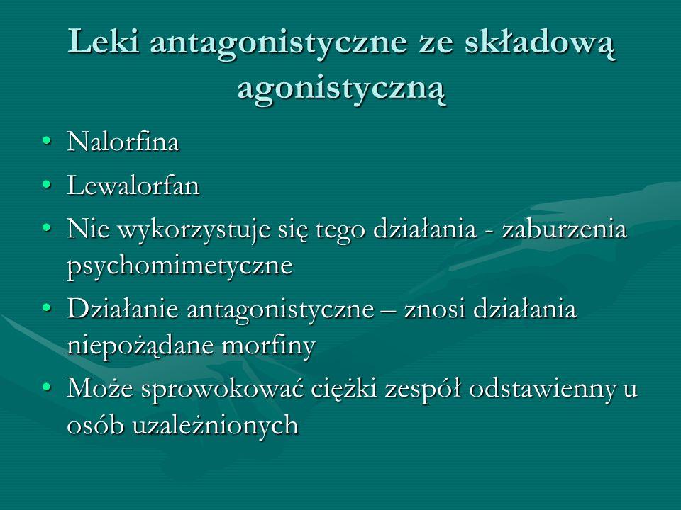 Leki antagonistyczne ze składową agonistyczną NalorfinaNalorfina LewalorfanLewalorfan Nie wykorzystuje się tego działania - zaburzenia psychomimetyczn
