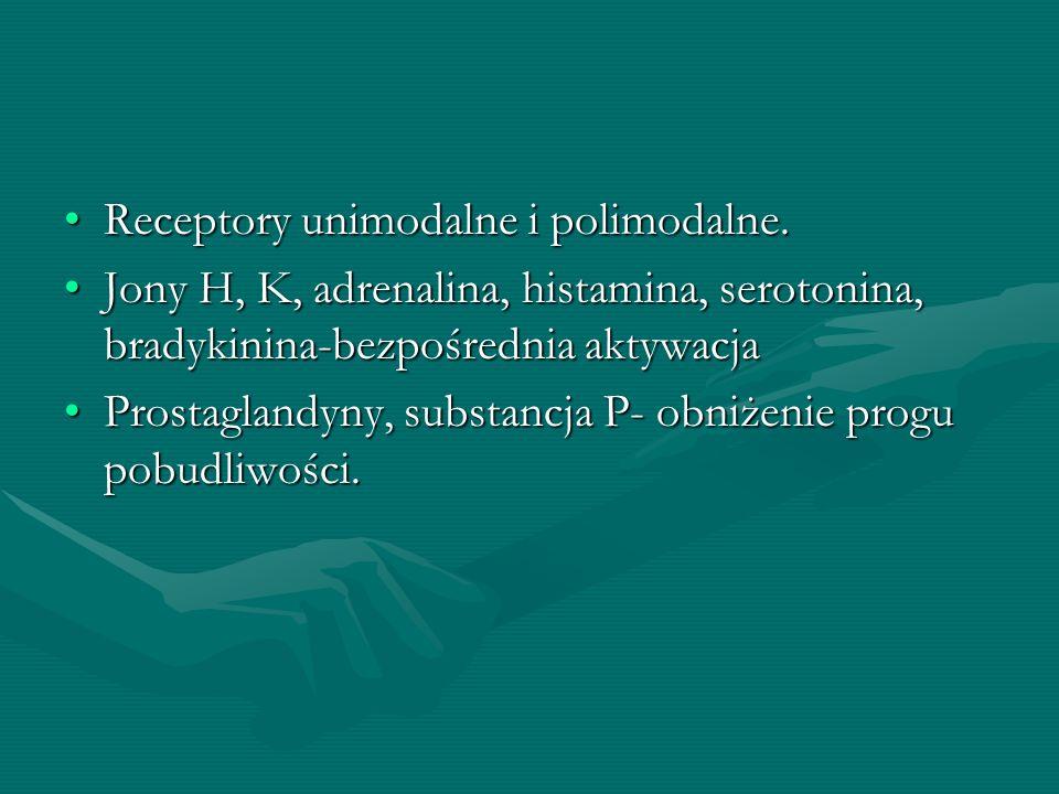 Receptory unimodalne i polimodalne.Receptory unimodalne i polimodalne. Jony H, K, adrenalina, histamina, serotonina, bradykinina-bezpośrednia aktywacj