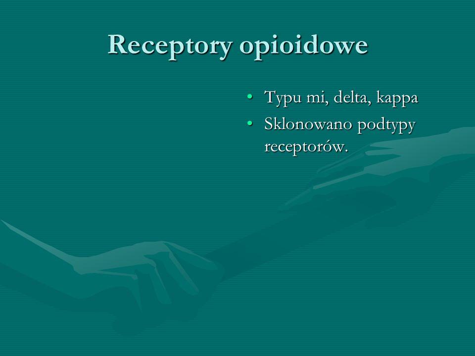 Receptory opioidowe Typu mi, delta, kappa Sklonowano podtypy receptorów.