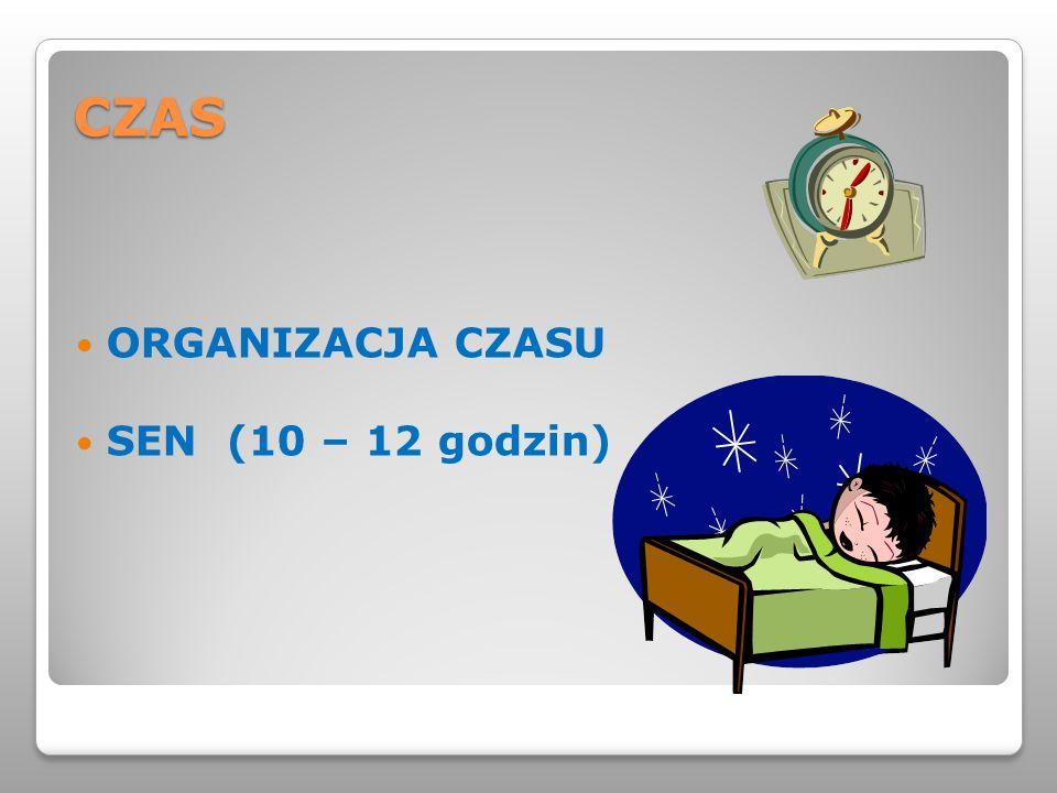 CZAS ORGANIZACJA CZASU SEN (10 – 12 godzin)