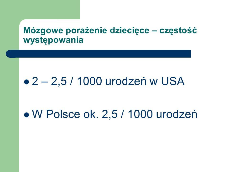 Mózgowe porażenie dziecięce – częstość występowania 2 – 2,5 / 1000 urodzeń w USA W Polsce ok. 2,5 / 1000 urodzeń