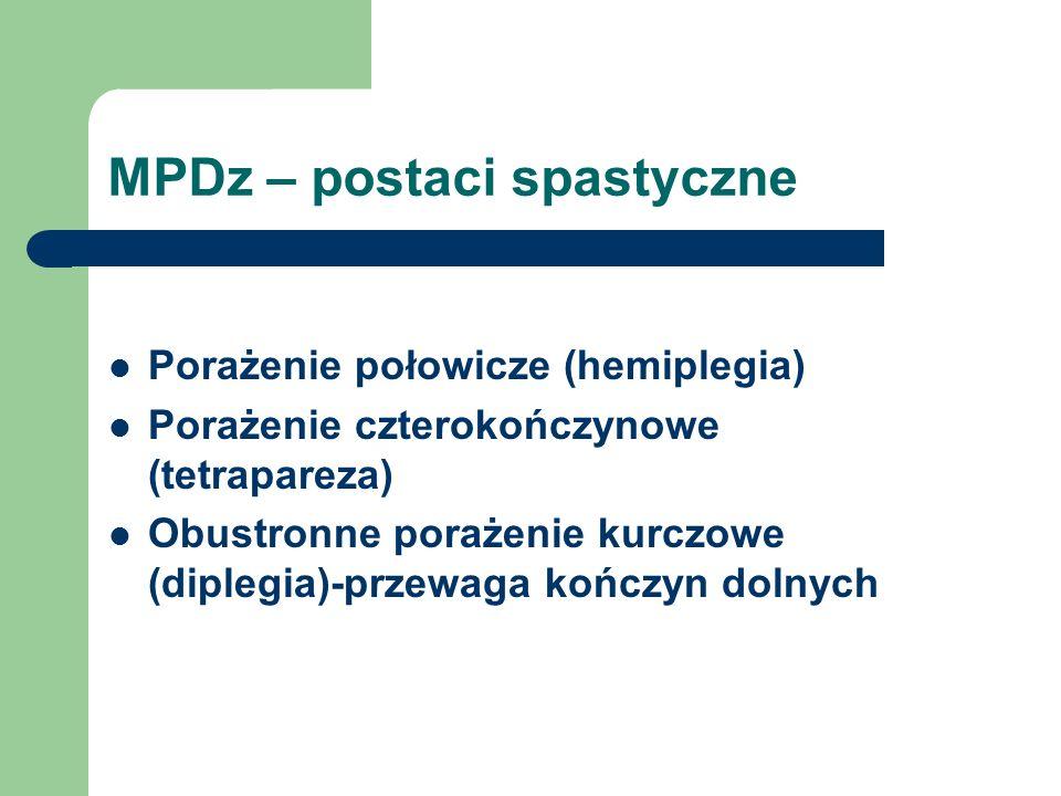 MPDz – postaci spastyczne Porażenie połowicze (hemiplegia) Porażenie czterokończynowe (tetrapareza) Obustronne porażenie kurczowe (diplegia)-przewaga