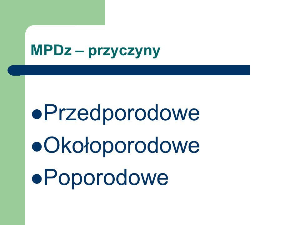 MPDz – przyczyny Przedporodowe Okołoporodowe Poporodowe