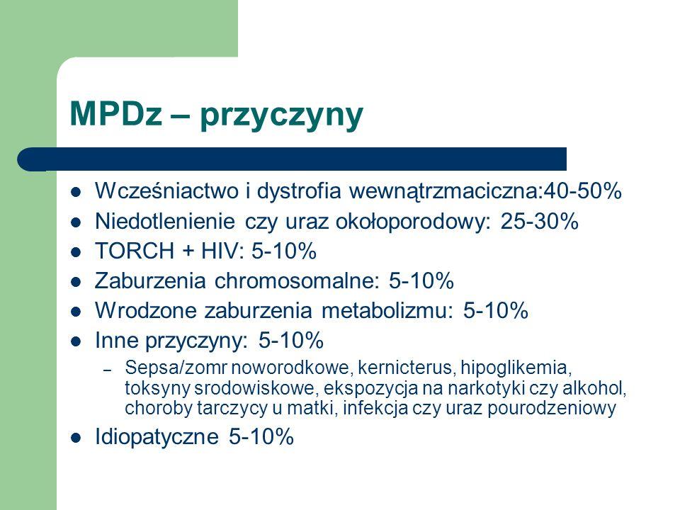MPDz – przyczyny Wcześniactwo i dystrofia wewnątrzmaciczna:40-50% Niedotlenienie czy uraz okołoporodowy: 25-30% TORCH + HIV: 5-10% Zaburzenia chromoso