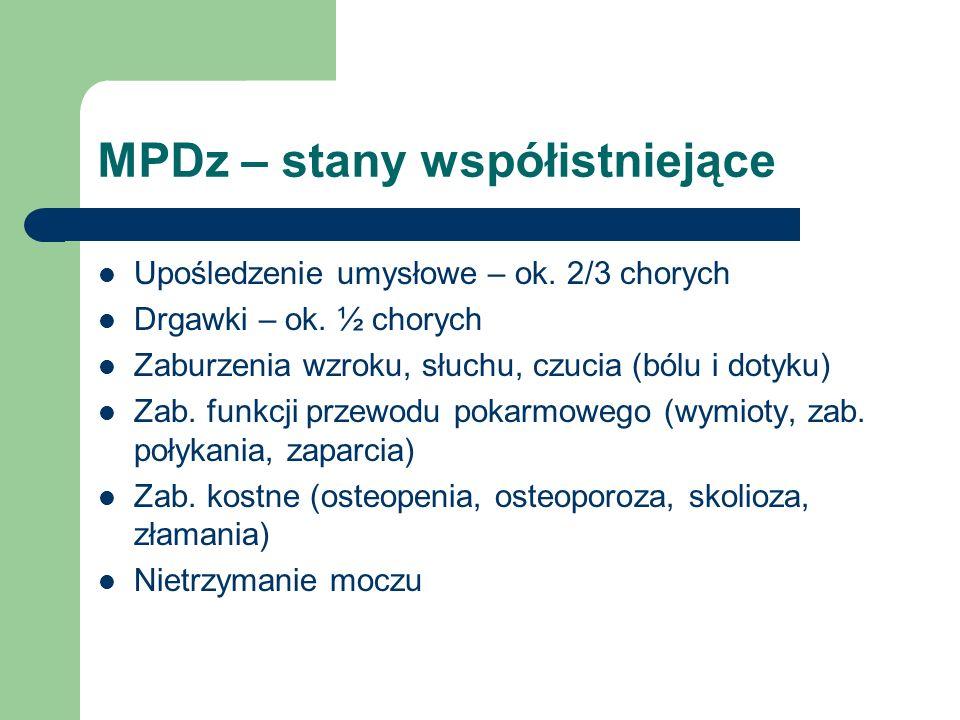MPDz – stany współistniejące Upośledzenie umysłowe – ok. 2/3 chorych Drgawki – ok. ½ chorych Zaburzenia wzroku, słuchu, czucia (bólu i dotyku) Zab. fu