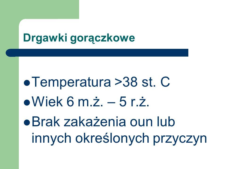Drgawki gorączkowe Temperatura >38 st. C Wiek 6 m.ż. – 5 r.ż. Brak zakażenia oun lub innych określonych przyczyn