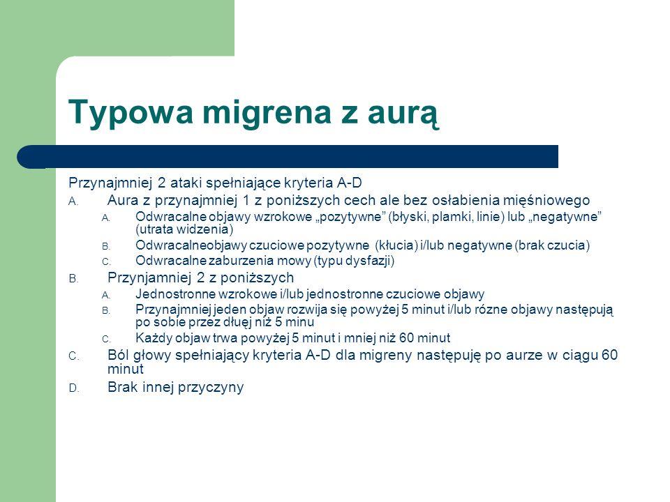 Typowa migrena z aurą Przynajmniej 2 ataki spełniające kryteria A-D A. Aura z przynajmniej 1 z poniższych cech ale bez osłabienia mięśniowego A. Odwra