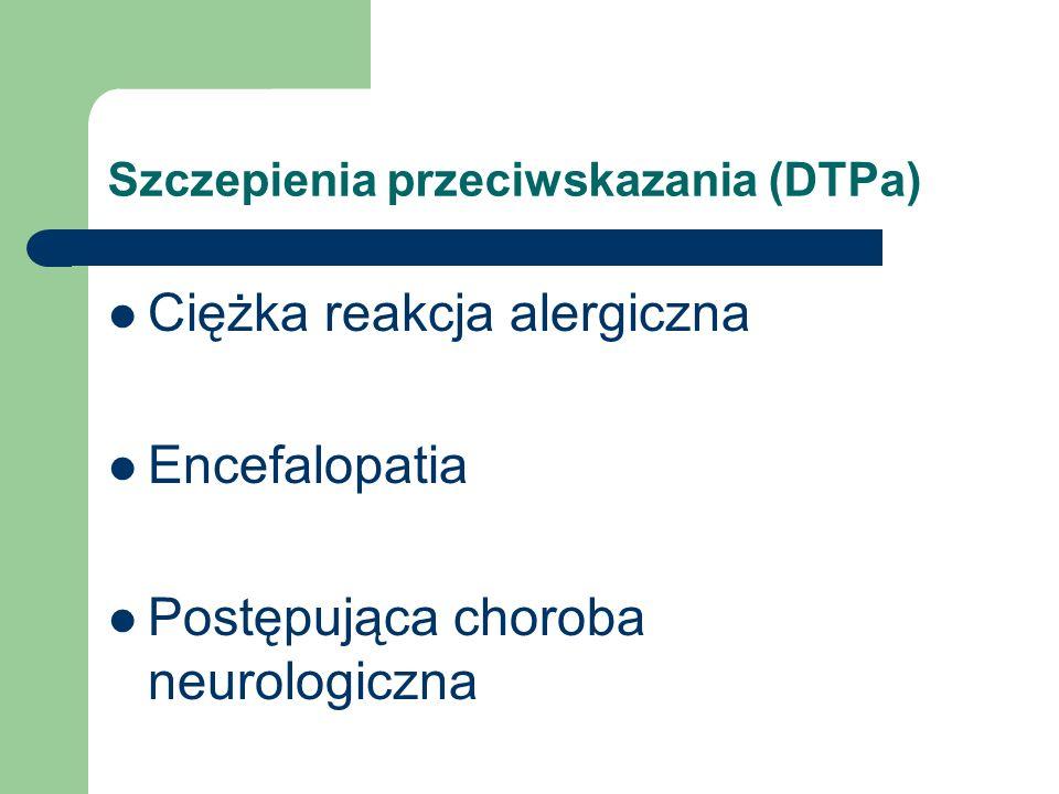 Szczepienia przeciwskazania (DTPa) Ciężka reakcja alergiczna Encefalopatia Postępująca choroba neurologiczna