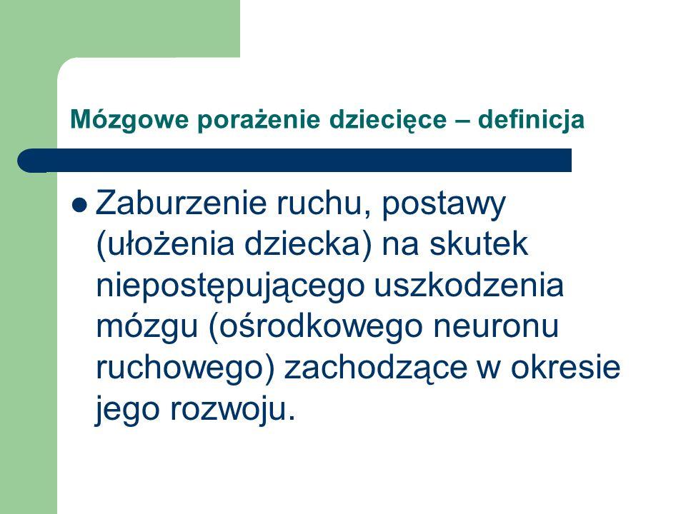 Mózgowe porażenie dziecięce – częstość występowania 2 – 2,5 / 1000 urodzeń w USA W Polsce ok.
