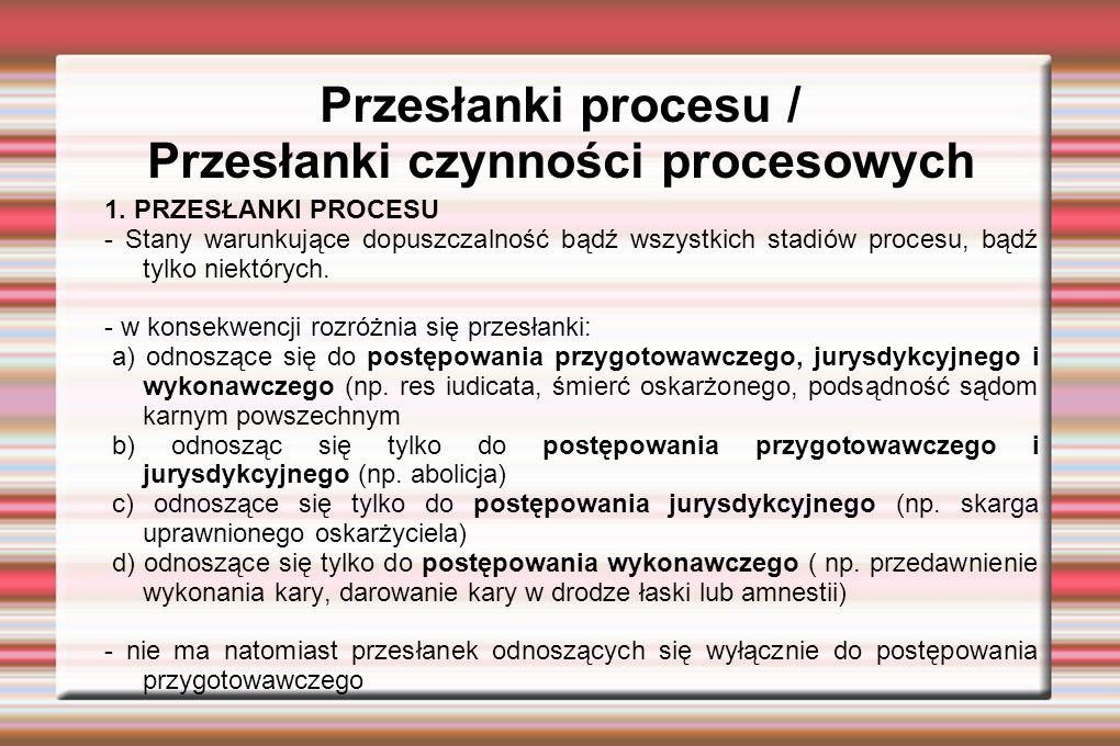 Przesłanki procesu / Przesłanki czynności procesowych 1.