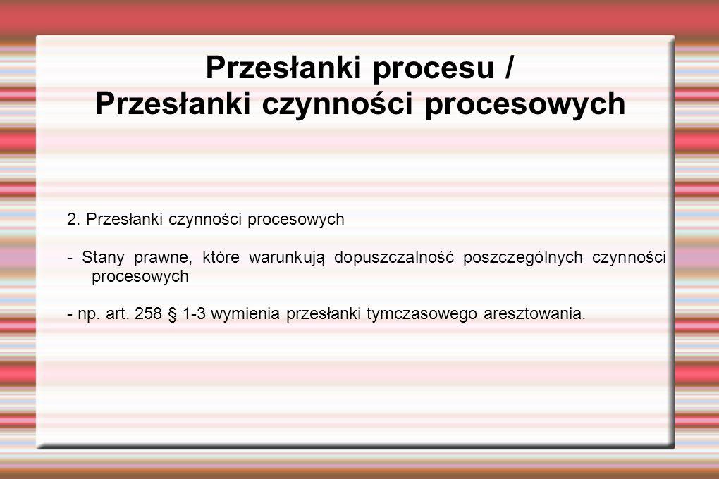 Przesłanki procesu / Przesłanki czynności procesowych 2.