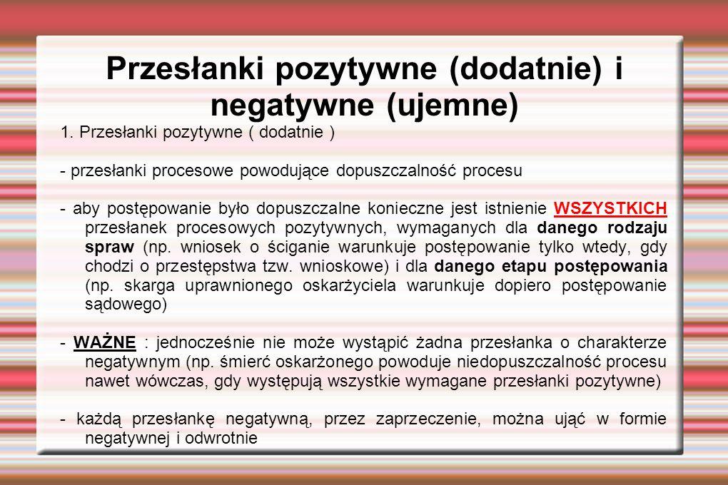 Przesłanki pozytywne (dodatnie) i negatywne (ujemne) 1.