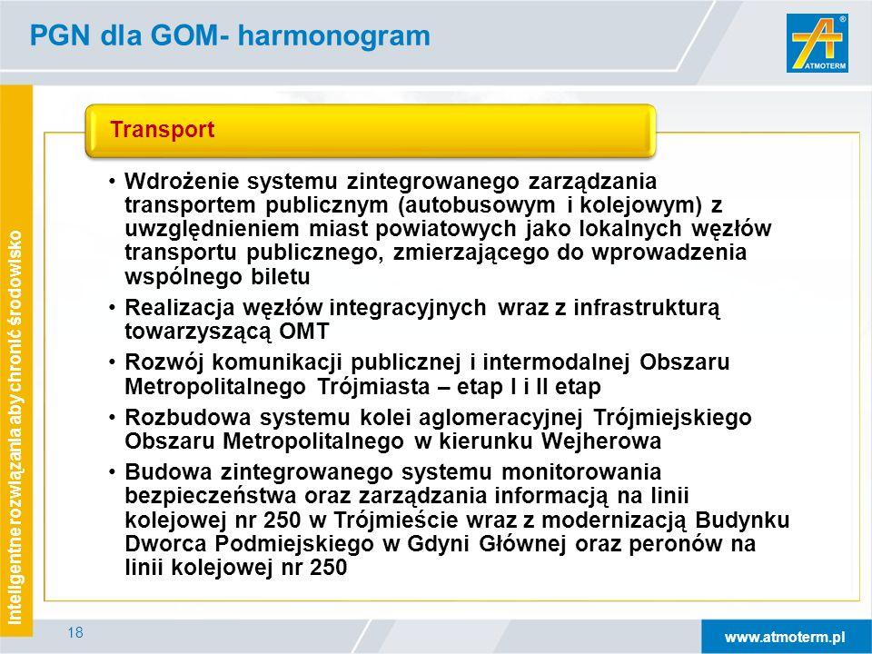 www.atmoterm.pl Inteligentne rozwiązania aby chronić środowisko 18 PGN dla GOM- harmonogram Wdrożenie systemu zintegrowanego zarządzania transportem publicznym (autobusowym i kolejowym) z uwzględnieniem miast powiatowych jako lokalnych węzłów transportu publicznego, zmierzającego do wprowadzenia wspólnego biletu Realizacja węzłów integracyjnych wraz z infrastrukturą towarzyszącą OMT Rozwój komunikacji publicznej i intermodalnej Obszaru Metropolitalnego Trójmiasta – etap I i II etap Rozbudowa systemu kolei aglomeracyjnej Trójmiejskiego Obszaru Metropolitalnego w kierunku Wejherowa Budowa zintegrowanego systemu monitorowania bezpieczeństwa oraz zarządzania informacją na linii kolejowej nr 250 w Trójmieście wraz z modernizacją Budynku Dworca Podmiejskiego w Gdyni Głównej oraz peronów na linii kolejowej nr 250 Transport