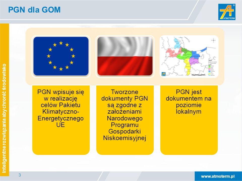 www.atmoterm.pl Inteligentne rozwiązania aby chronić środowisko 3 PGN dla GOM PGN wpisuje się w realizację celów Pakietu Klimatyczno- Energetycznego UE Tworzone dokumenty PGN są zgodne z założeniami Narodowego Programu Gospodarki Niskoemisyjnej PGN jest dokumentem na poziomie lokalnym