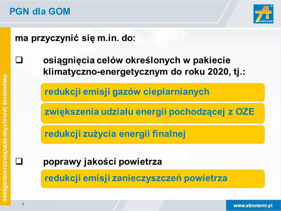 www.atmoterm.pl Inteligentne rozwiązania aby chronić środowisko 25 PGN dla GOM – system realizacji PGN  GOM – główny koordynator  Współpraca z koordynatorami na poziomie gmin  Sprawozdania z realizacji działań naprawczych – co 3 lata  Sprawozdanie w zakresie działań związanych z redukcją emisji powinno obejmować wszystkie działania ujęte w harmonogramie rzeczowo-finansowym