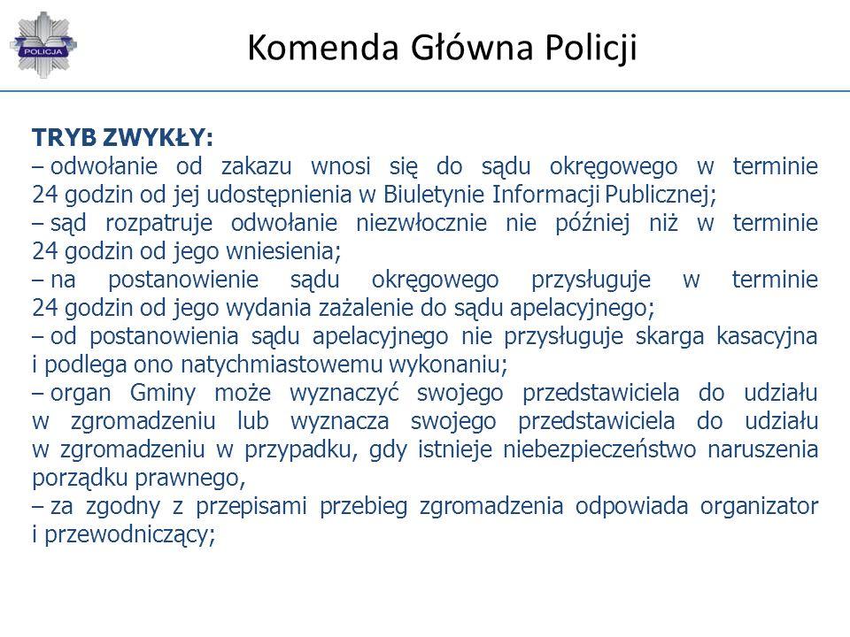 Komenda Główna Policji TRYB ZWYKŁY: – odwołanie od zakazu wnosi się do sądu okręgowego w terminie 24 godzin od jej udostępnienia w Biuletynie Informac