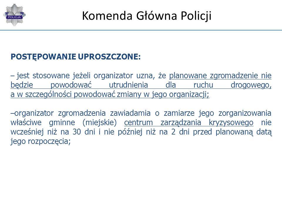 Komenda Główna Policji POSTĘPOWANIE UPROSZCZONE: – jest stosowane jeżeli organizator uzna, że planowane zgromadzenie nie będzie powodować utrudnienia