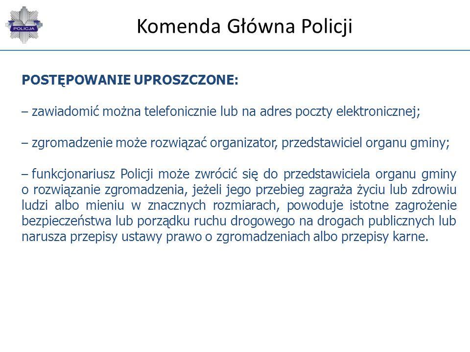 Komenda Główna Policji POSTĘPOWANIE UPROSZCZONE: – zawiadomić można telefonicznie lub na adres poczty elektronicznej; – zgromadzenie może rozwiązać or