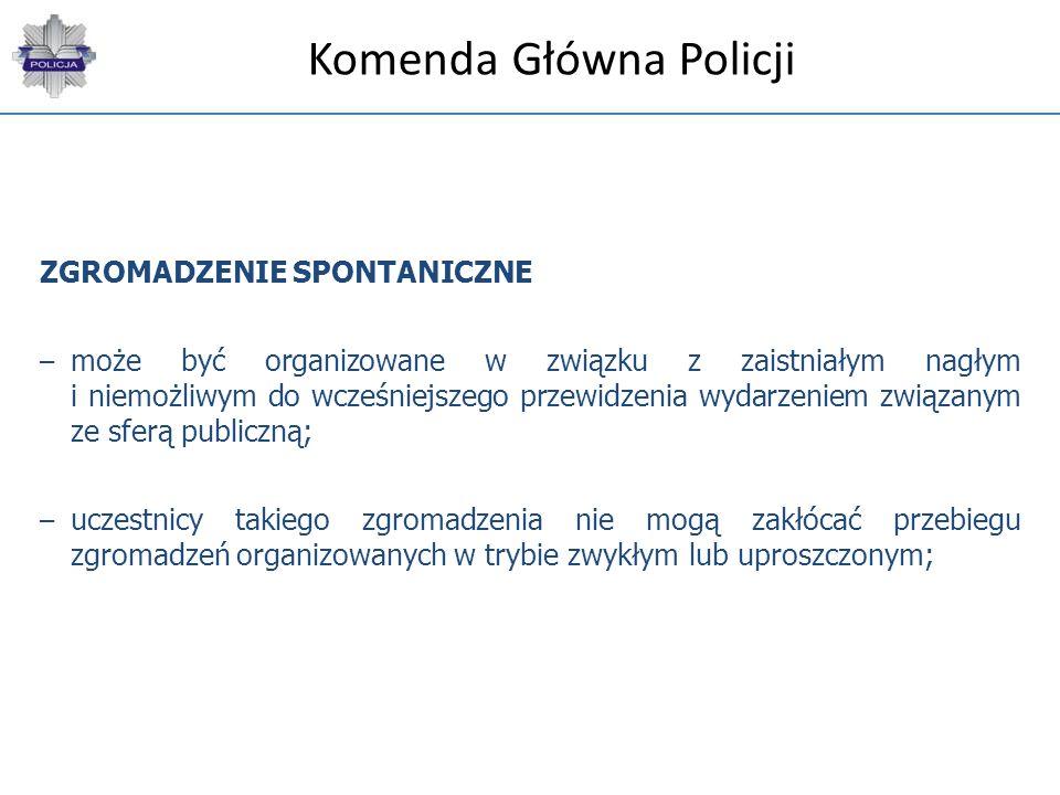 Komenda Główna Policji ZGROMADZENIE SPONTANICZNE – może być organizowane w związku z zaistniałym nagłym i niemożliwym do wcześniejszego przewidzenia w