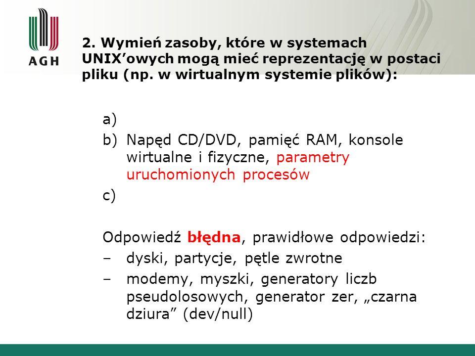 2.Wymień zasoby, które w systemach UNIX'owych mogą mieć reprezentację w postaci pliku (np.