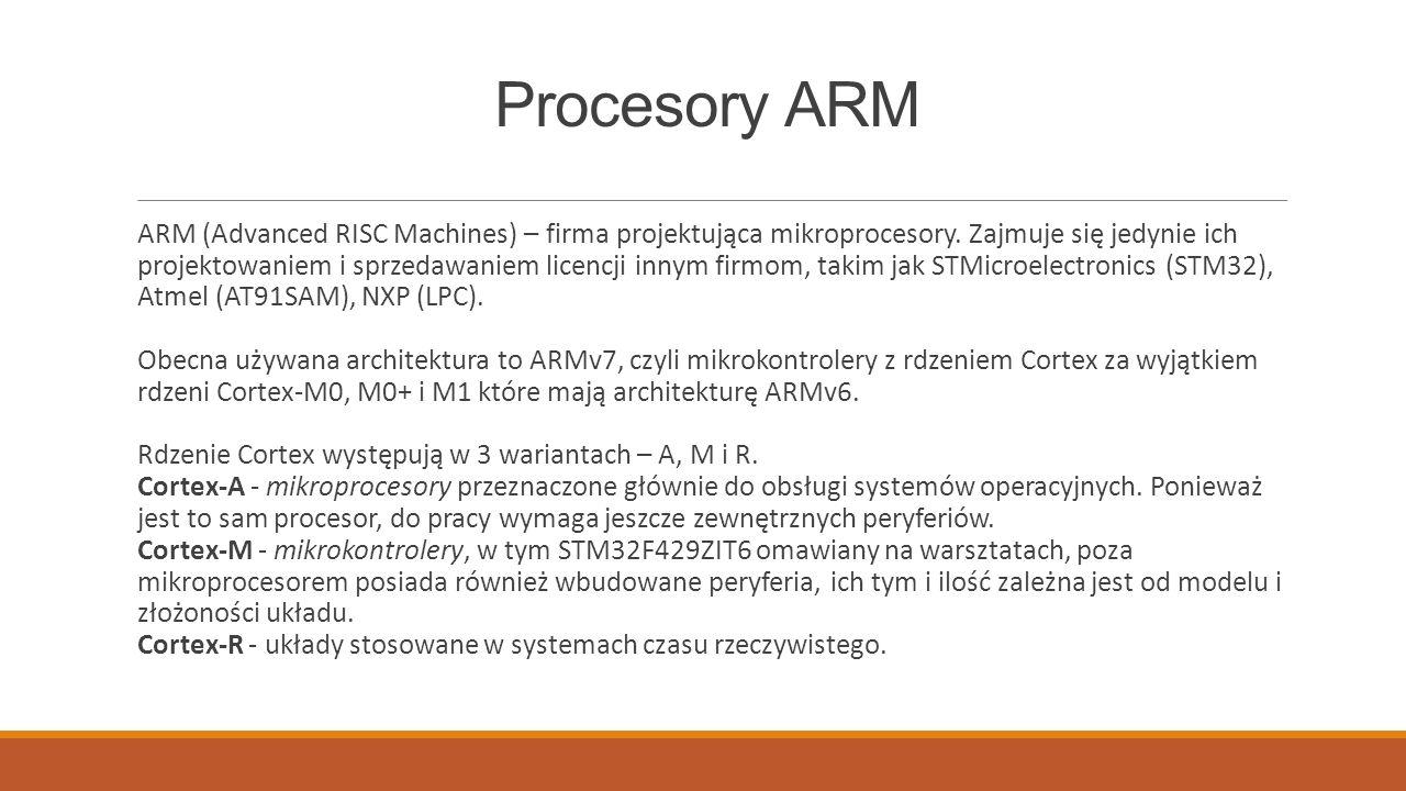 Oznaczenia Nazwy rdzeni procesorów z serii M: Cortex-M0/M0+ - najmniejszy i najprostszy mikroprocesor, tania 32-bitowa alternatywa dla mikrokontrolerów 8 i 16-bitowych.