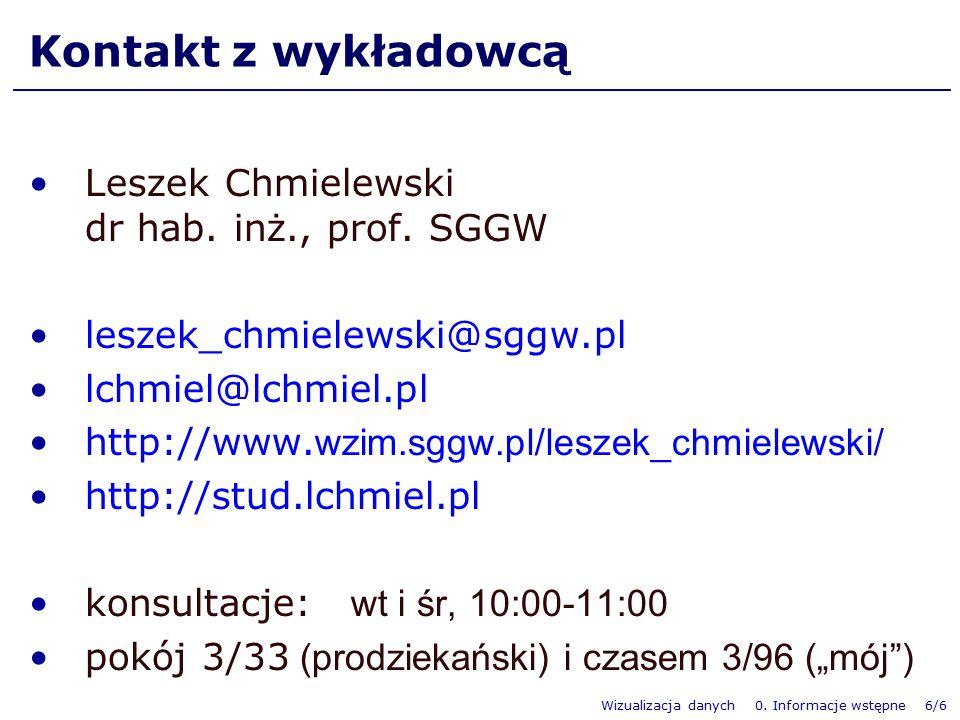 Wizualizacja danych 0. Informacje wstępne 6/6 Kontakt z wykładowcą Leszek Chmielewski dr hab. inż., prof. SGGW leszek_chmielewski@sggw.pl lchmiel@lchm