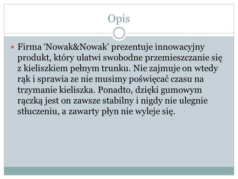 Opis Firma 'Nowak&Nowak' prezentuje innowacyjny produkt, który ułatwi swobodne przemieszczanie się z kieliszkiem pełnym trunku.