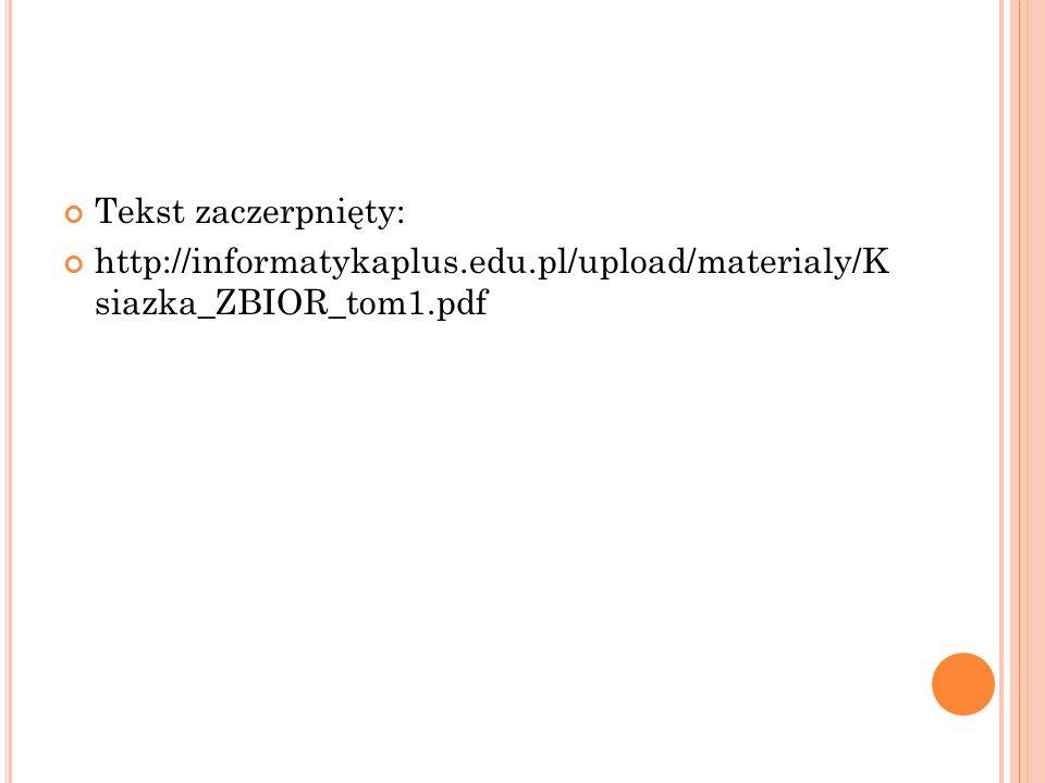 Tekst zaczerpnięty: http://informatykaplus.edu.pl/upload/materialy/K siazka_ZBIOR_tom1.pdf