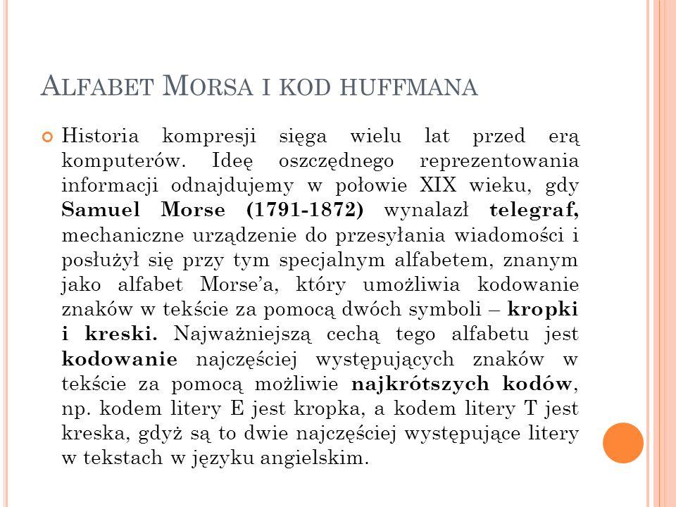 A LFABET M ORSA I KOD HUFFMANA Historia kompresji sięga wielu lat przed erą komputerów.