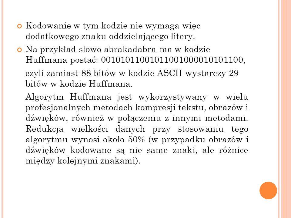 Kodowanie w tym kodzie nie wymaga więc dodatkowego znaku oddzielającego litery.
