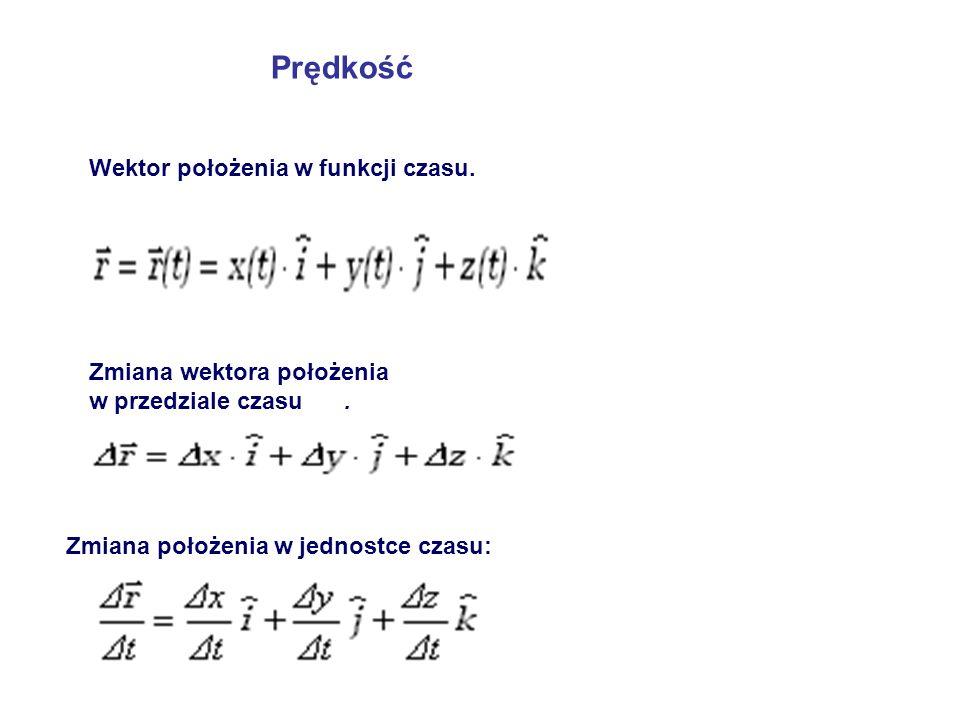 Prędkość Wektor położenia w funkcji czasu. Zmiana wektora położenia w przedziale czasu.