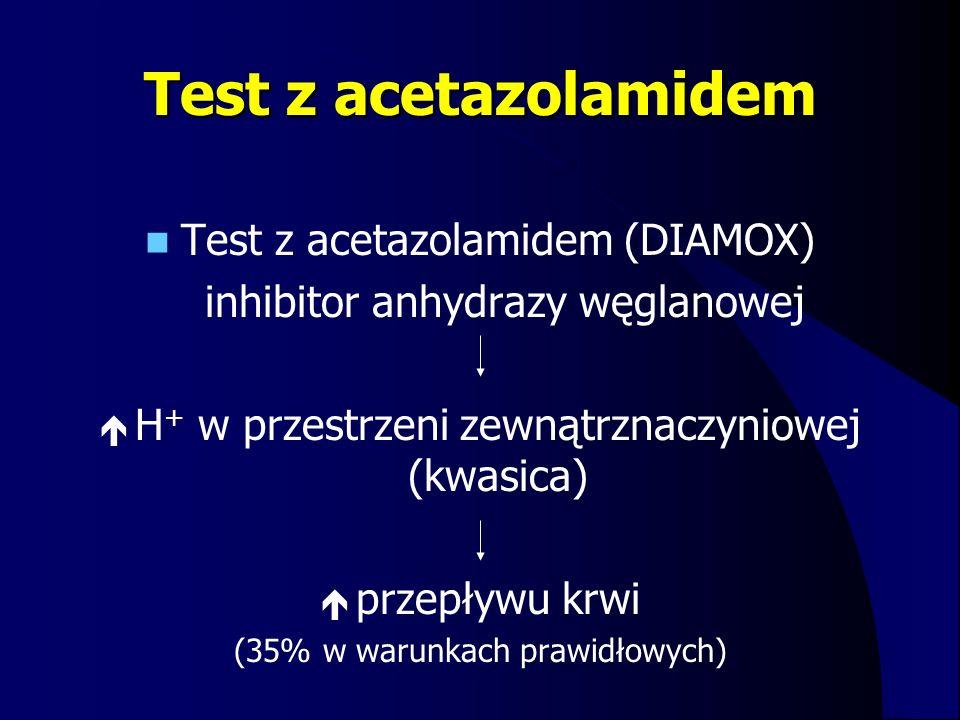 Test z acetazolamidem Test z acetazolamidem (DIAMOX) inhibitor anhydrazy węglanowej  H + w przestrzeni zewnątrznaczyniowej (kwasica)  przepływu krwi