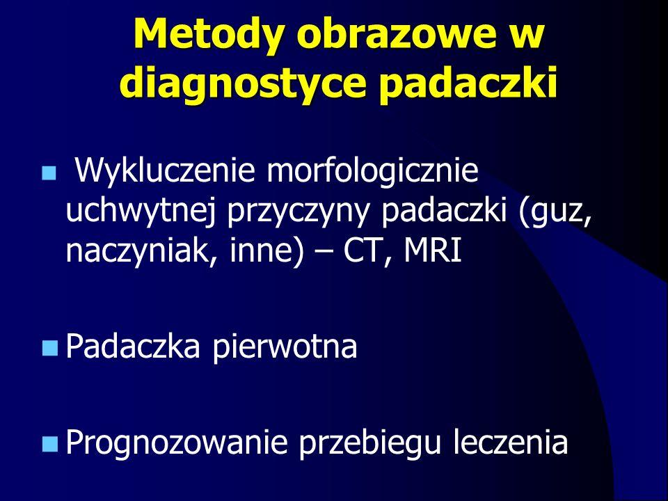 Metody obrazowe w diagnostyce padaczki Wykluczenie morfologicznie uchwytnej przyczyny padaczki (guz, naczyniak, inne) – CT, MRI Padaczka pierwotna Pro
