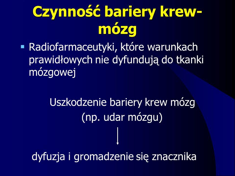 Czynność bariery krew- mózg  Radiofarmaceutyki, które warunkach prawidłowych nie dyfundują do tkanki mózgowej Uszkodzenie bariery krew mózg (np. udar