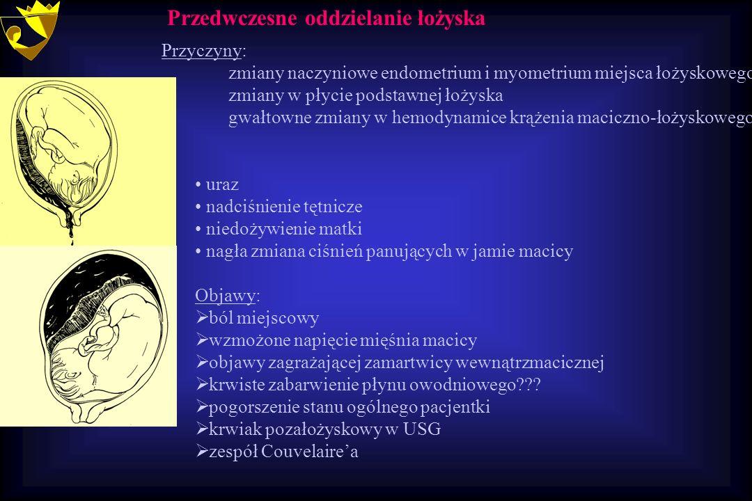 Przyczyny: zmiany naczyniowe endometrium i myometrium miejsca łożyskowego zmiany w płycie podstawnej łożyska gwałtowne zmiany w hemodynamice krążenia