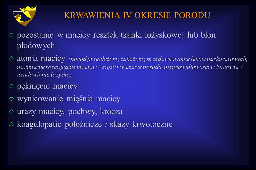KRWAWIENIA IV OKRESIE PORODU R pozostanie w macicy resztek tkanki łożyskowej lub błon płodowych R atonia macicy (poród przedłużony, zakażony, przedawk
