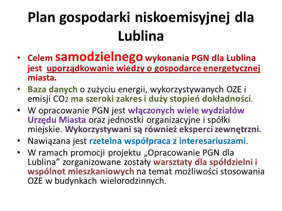 Plan gospodarki niskoemisyjnej dla Lublina Celem samodzielnego wykonania PGN dla Lublina jest uporządkowanie wiedzy o gospodarce energetycznej miasta.