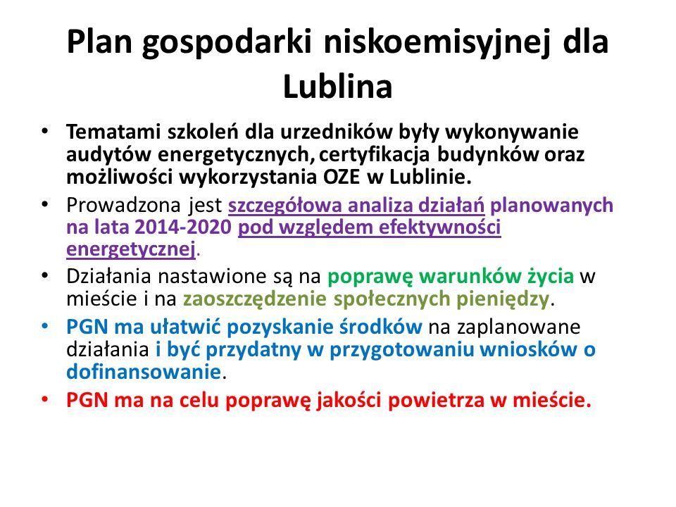 Plan gospodarki niskoemisyjnej dla Lublina Tematami szkoleń dla urzedników były wykonywanie audytów energetycznych, certyfikacja budynków oraz możliwości wykorzystania OZE w Lublinie.