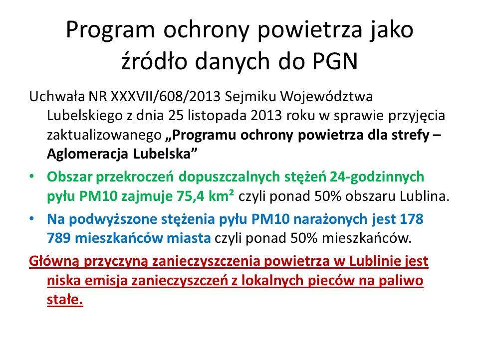 """Program ochrony powietrza jako źródło danych do PGN Uchwała NR XXXVII/608/2013 Sejmiku Województwa Lubelskiego z dnia 25 listopada 2013 roku w sprawie przyjęcia zaktualizowanego """"Programu ochrony powietrza dla strefy – Aglomeracja Lubelska Obszar przekroczeń dopuszczalnych stężeń 24-godzinnych pyłu PM10 zajmuje 75,4 km² czyli ponad 50% obszaru Lublina."""